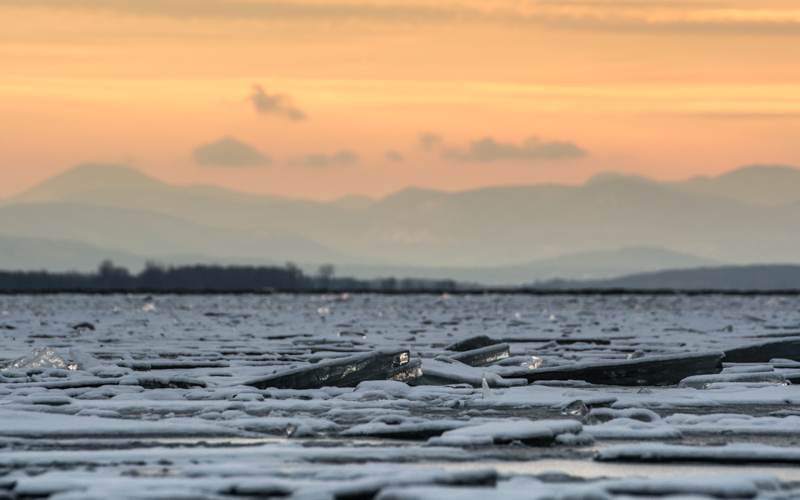 View of the ice on Lake Champlain from KillKare  State Park, St. Albans Bay, Vermont